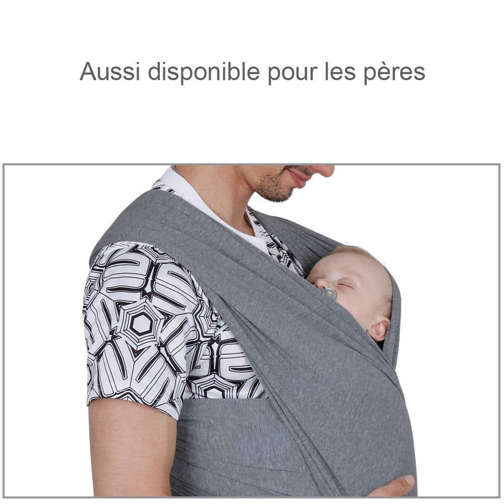 Les dimensions de cette écharpe permettent également à papa de porter bébé.