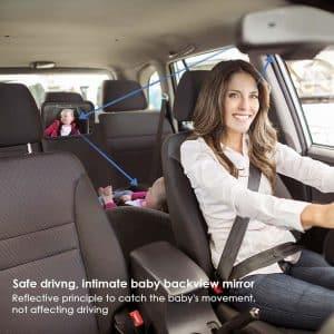 Amzdeal Rétroviseur de Surveillance pour Bébé renvoie le reflet de votre bébé directement dans le rétroviseur intérieur de votre véhicule