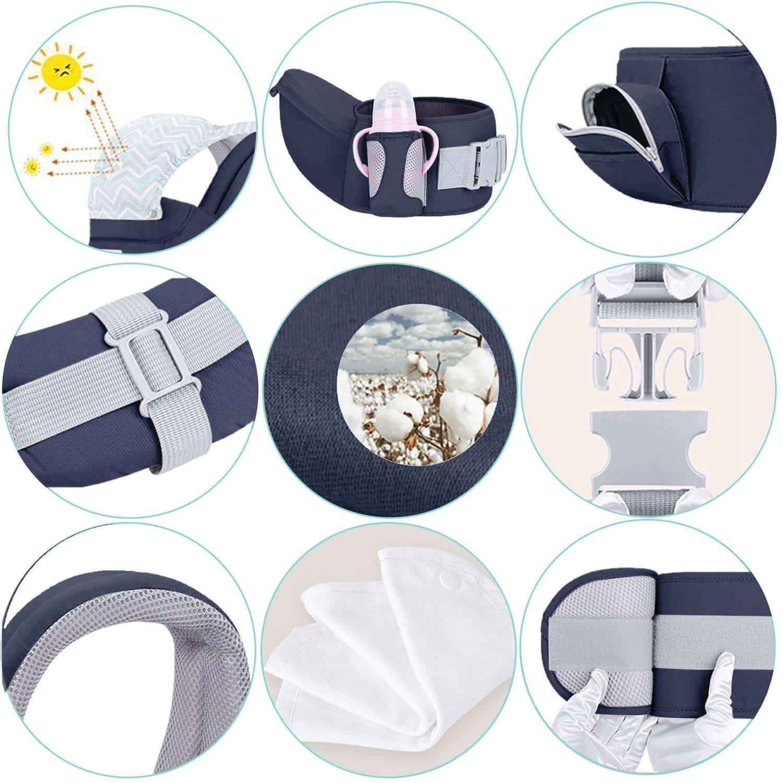 Viedouce Porte-bébé Ergonomique Multi-fonctions possède des qualités très pratiques, comme par exemple le pare-soleil et les poches sur la ceinture.