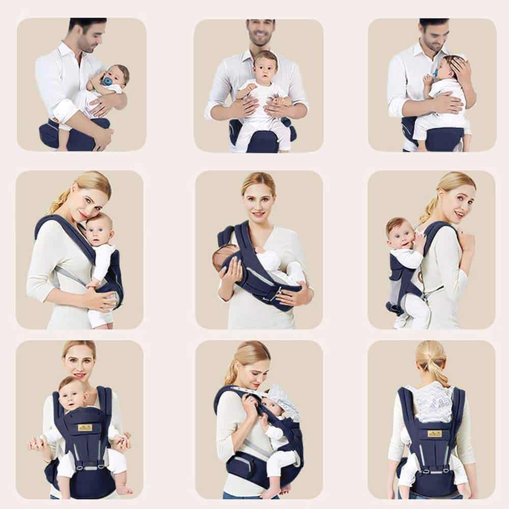 Le Porte Bébé Ventral de viedouce propose 6 position de portage de bébé.